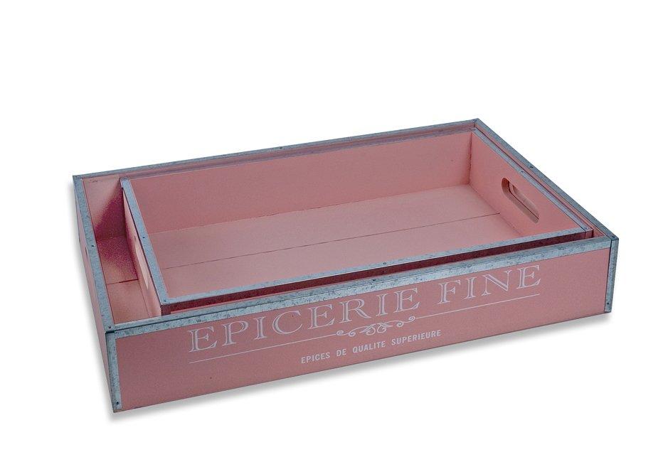 Σετ 2 ξύλινοι δίσκοι από μέταλλο Shaby Chic-Ροζ
