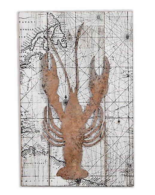 Πίνακας παλιός χάρτης με αστακό (Μήκος: 39 Βάθος: 4 Ύψος: 60)