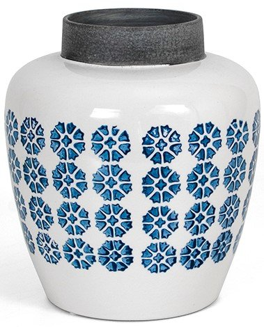 Κεραμικό βάζο με ρετρό μοτίφ σε γαλάζιο
