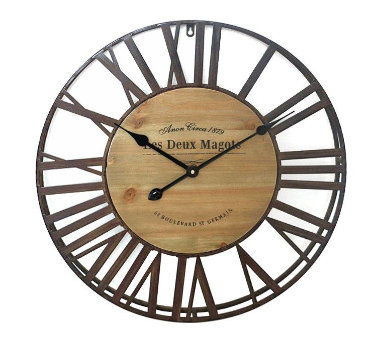 Rustic ρολόι τοίχου Les Deux Magots (Μήκος: 61 Βάθος: 5 Ύψος: 61)