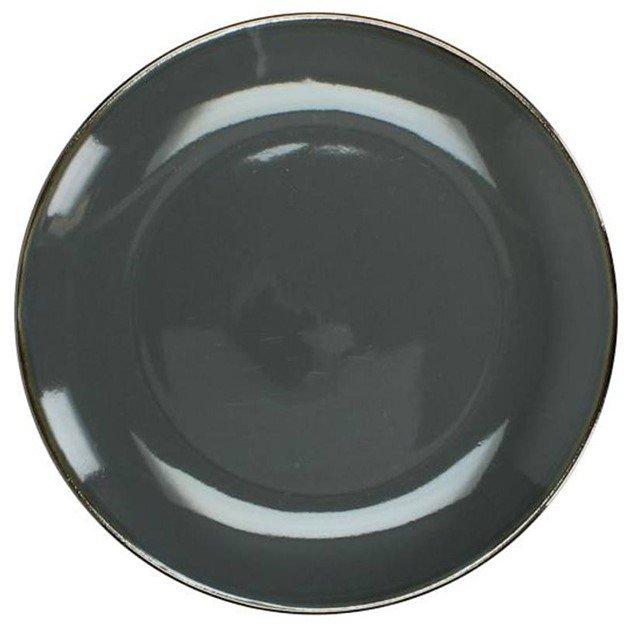 Πιάτο εμαγιέ stoneware σε σκούρο γκρι