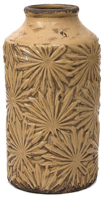 Κεραμικό βάζο με ανάγλυφο σχέδιο φύλλα φοίνικα