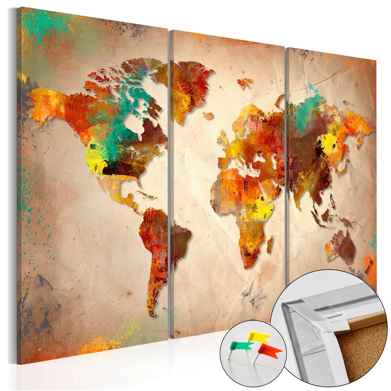 Πίνακας φελλού - Painted World [Cork Map] 90x60