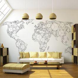 Φωτοταπετσαρία - Map of the World - white solids