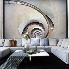 Φωτοταπετσαρία - White spiral stairs