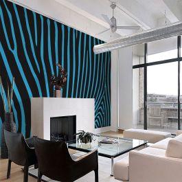 Φωτοταπετσαρία - Zebra pattern (turquoise)