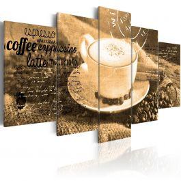 Πίνακας - Coffe, Espresso, Cappuccino, Latte machiato ... - sepia