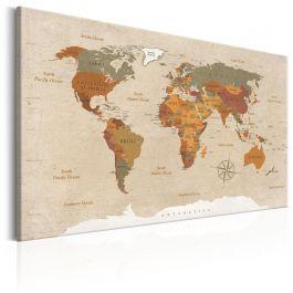 Πίνακας - World Map: Beige Chic