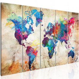 Πίνακας - World Map: Colourful Ink Blots