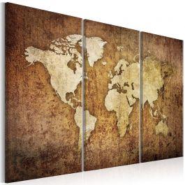 Πίνακας - World Map: Brown Texture
