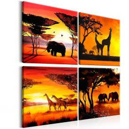 Πίνακας - African Animals (4 Parts) 60x60