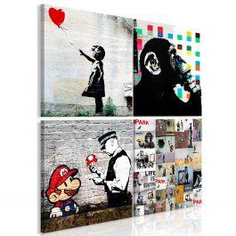 Πίνακας - Banksy Collage (4 Parts)
