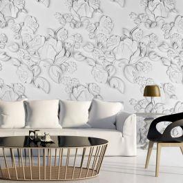 Φωτοταπετσαρία - White ornament: roses