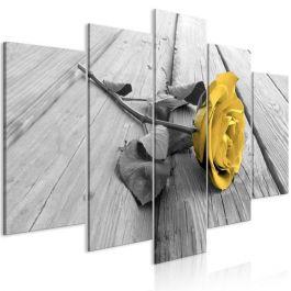 Πίνακας - Rose on Wood (5 Parts) Wide Yellow