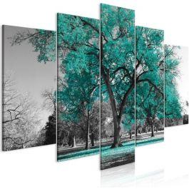 Πίνακας - Autumn in the Park (5 Parts) Wide Turquoise