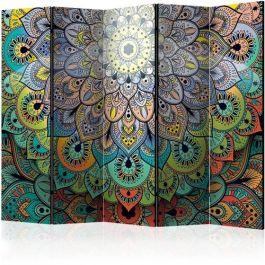 Διαχωριστικό με 5 τμήματα - Colourful Stained Glass II [Room Dividers]