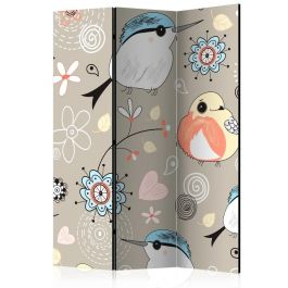 Διαχωριστικό με 3 τμήματα - Natural pattern with birds [Room Dividers]
