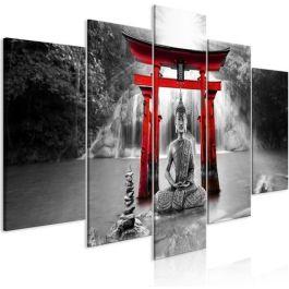 Πίνακας - Buddha Smile (5 Parts) Wide Red