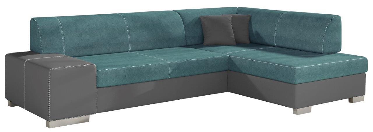 Γωνιακός καναπές Firminio-Γκρι - Πετρόλ-Δεξιά